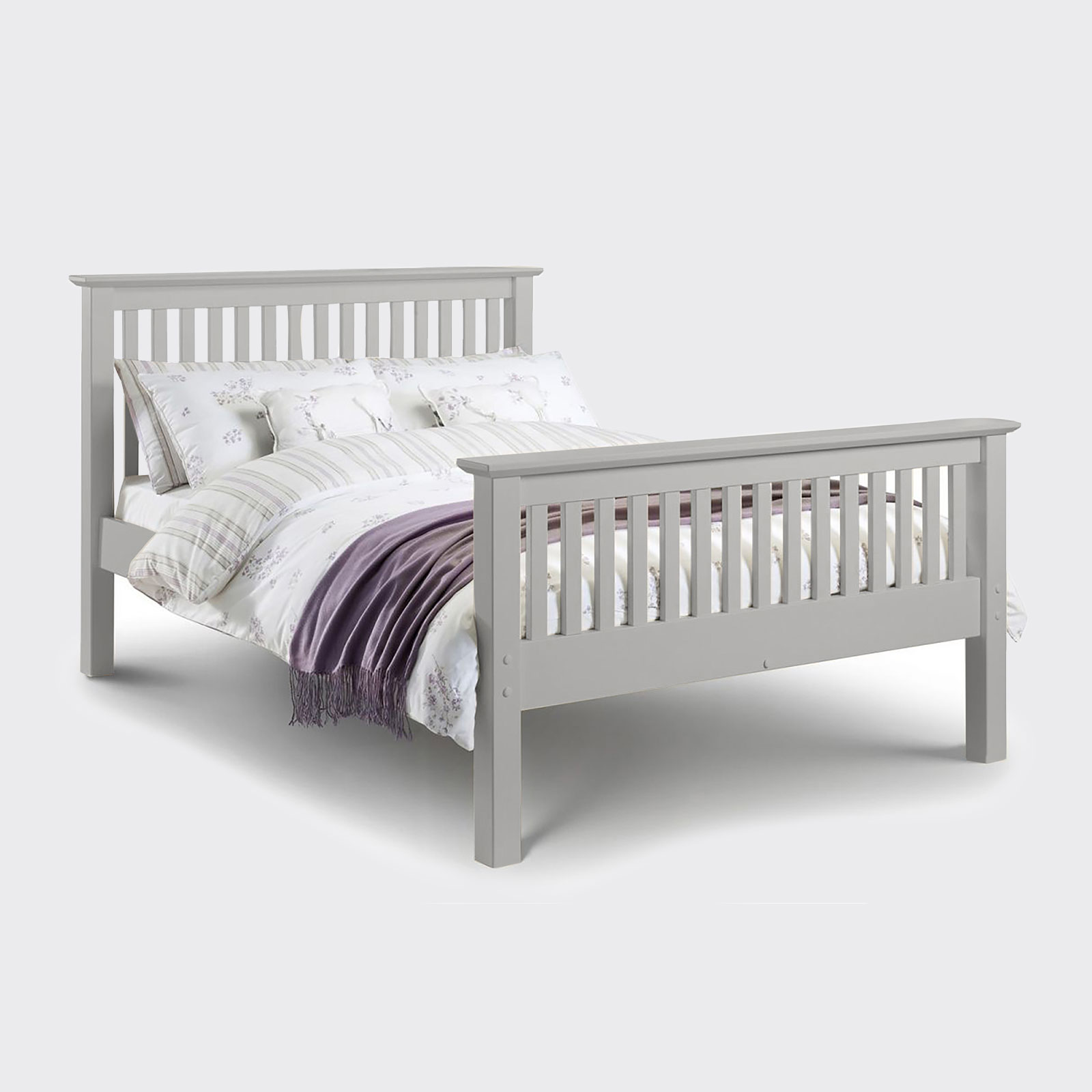 Barcelona dove grey high foot end bed including mattress
