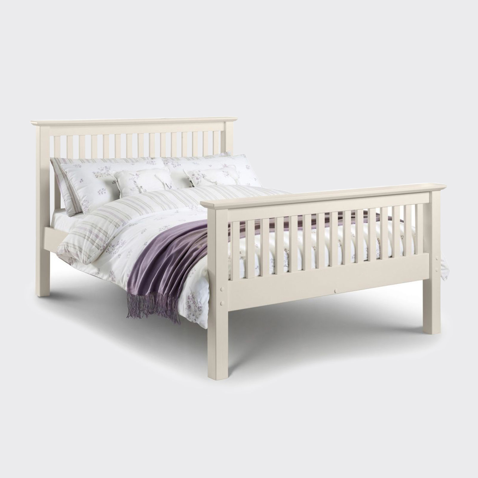 Barcelona stone white high foot end bed including mattress