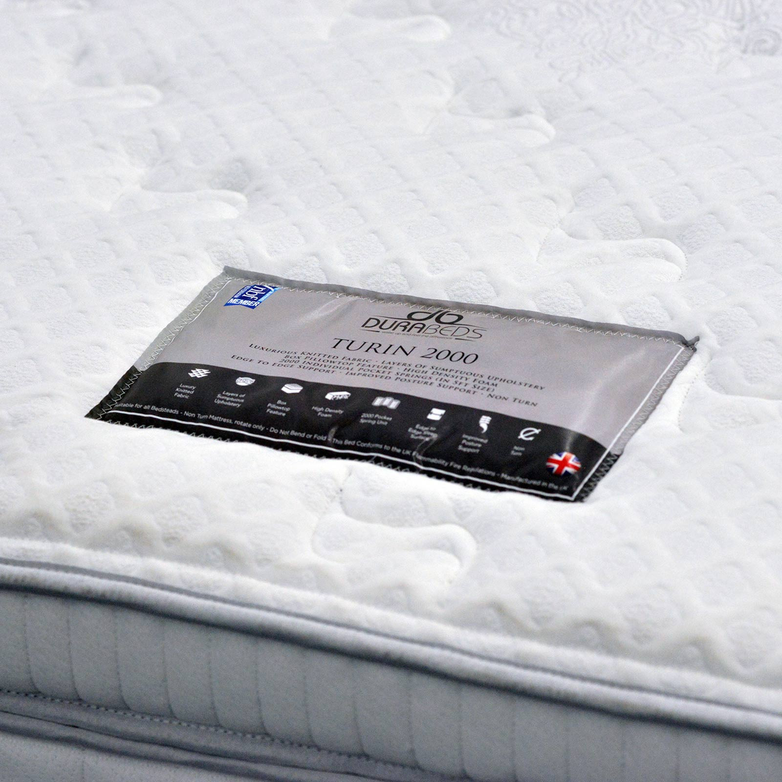 Turin 2000 divan with 2000 pocket mattress lifestyle mattress bottom label